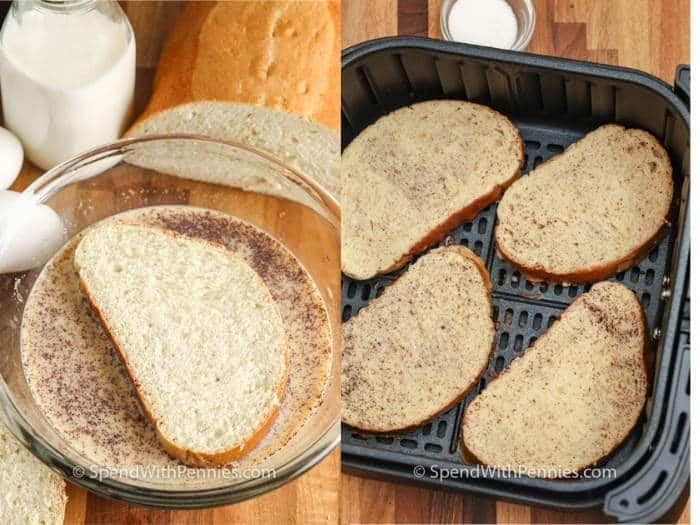 coating Air Fryer French Toast and putting in the air fryer